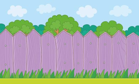 Wood Fence on the backyard. Grass Lawn and Purple Wooden Fence