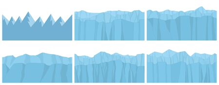 Set of Seamless Mountains. Game graphic