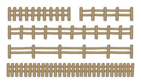 Set di recinzioni in legno di fattoria. isolato su sfondo bianco