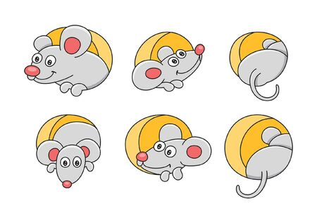 Set of Mouses. isolated on white background