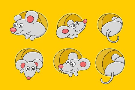 Set of Mouses. isolated on yellow background