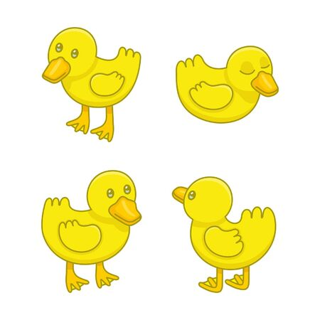 Set of Ducklings. isolated on white background