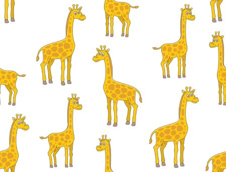 Seamless Pattern with Giraffes. isolated on white background