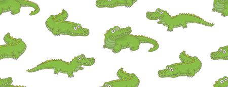 Seamless Pattern with Crocodiles. isolated on white background Çizim