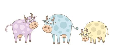 Set of Cows. isolated on white background Illustration