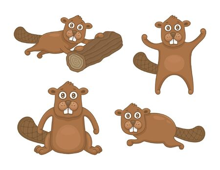 Set of Beavers. isolated on white background Stock Illustratie