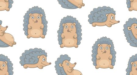 Seamless Pattern with Hedgehogs. isolated on white background Illustration