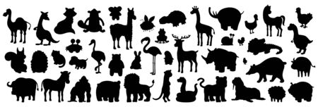 Set of Animals silhouette. isolated on white background