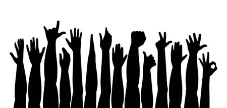Hands Up. Raised hands. isolated on white background