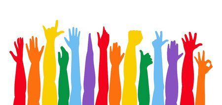 Bunte Hände hoch. Erhobene Hände. isoliert auf weißem Hintergrund