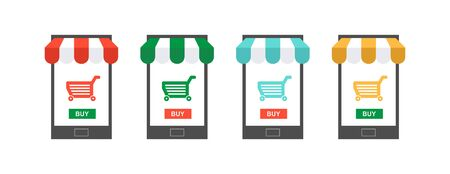 Mobile Online Store. smartphone with awning and shopping cart icon. isolated on white background Ilustracja