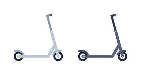 Two Electric scooter. isolated on white background Çizim