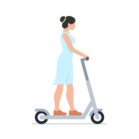 Woman riding an electric scooter. isolated on white background