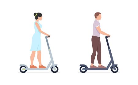 Man and Woman riding electric scooters. isolated on white background