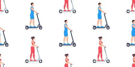 Seamless pattern with Man and Woman riding electric scooters. isolated on white background Çizim