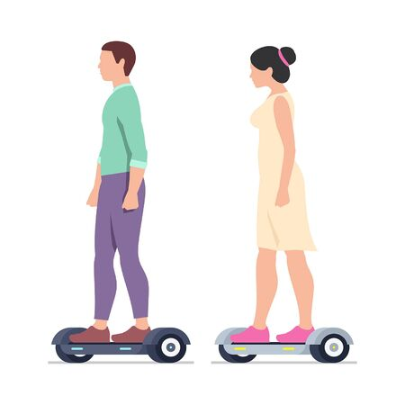 Man and Woman riding Electric hoverboards. isolated on white background Иллюстрация