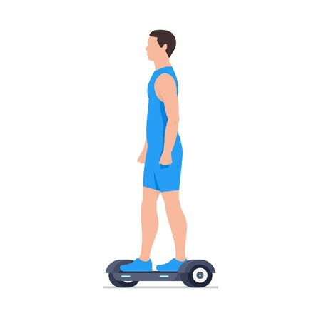 Man riding an Electric hoverboard. isolated on white background