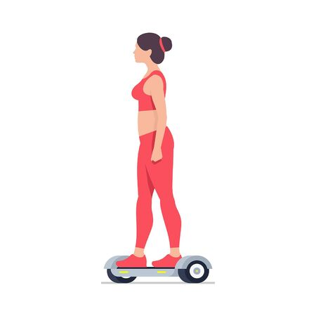 Woman riding an Electric hoverboard. isolated on white background