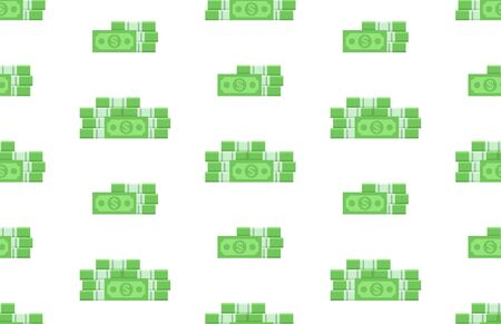 Seamless pattern with Pack of dollars. isolated on white background