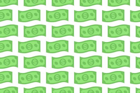 Seamless pattern with Dollar bill. isolated on white background  イラスト・ベクター素材
