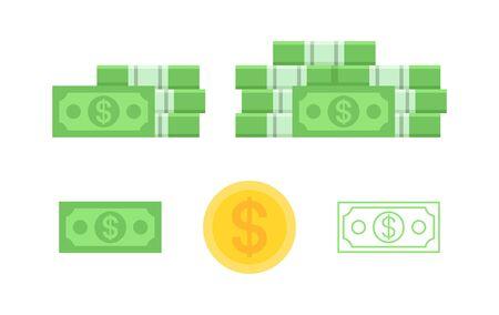 Set of banknotes dollar. isolated on white background