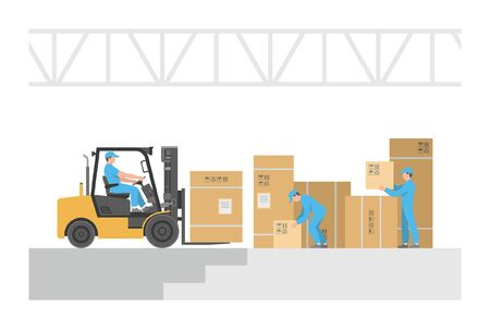 Delivery service. Warehouse logistic. isolated on white background Illustration
