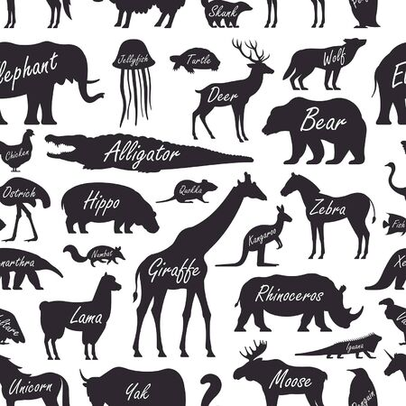 Seamless pattern with Animal, Zoo. isolated on white background Ilustracja