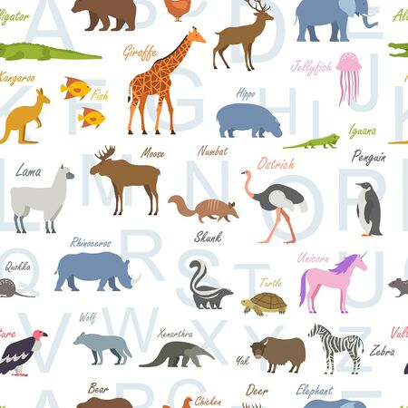 Seamless pattern with Zoo alphabet. Animal alphabet. isolated on white background