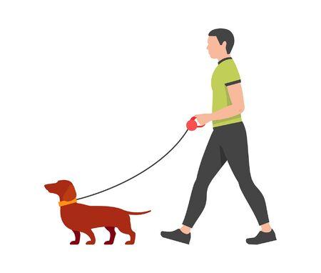 Man walking the dog. isolated on white background