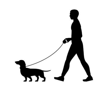 Silhouette Man walking the dog. isolated on white background Vektoros illusztráció
