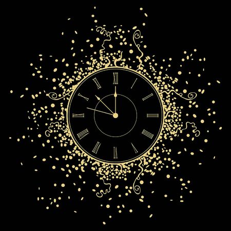 New Year gold Clock. isolated on black background