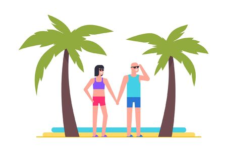 Men and women at the beach. Summer concept. Beach palms on background. isolated on white background Stock Illustratie