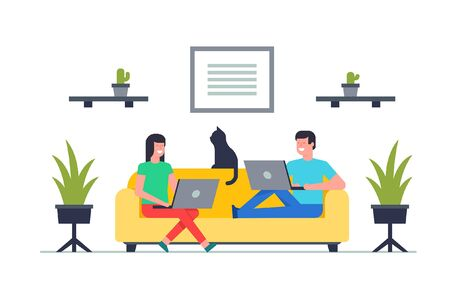 Happy Man and woman sitting on sofa with laptop. Working on a computer. isolated on white background  イラスト・ベクター素材