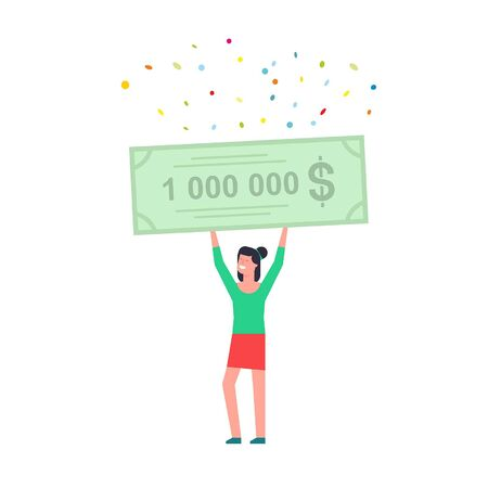 Happy woman holding a bank check for a million dollars. isolated on white background