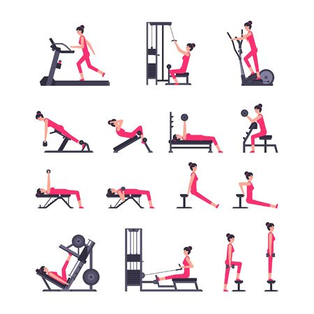 Woman gym set. Women workout set. Women Fitness Aerobic and Exercises. isolated on white background