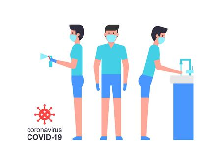 Coronavirus COVID-19 prevention. Man wear a face mask. Sanitizing with alcohol. Washing your hands. Vektorové ilustrace