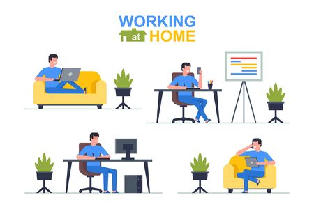 Working at home. Man freelancer working on laptop and computer, phone, tablet. Flat Style Vettoriali