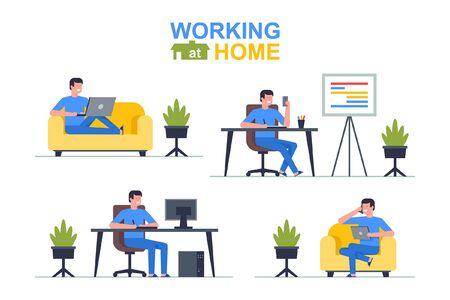 Zuhause arbeiten. Mann-Freiberufler, der an Laptop und Computer, Telefon, Tablet arbeitet. Flacher Stil Vektorgrafik