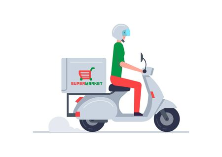 Courier Delivering Food on scooter. Food delivery service. concept flat design  イラスト・ベクター素材