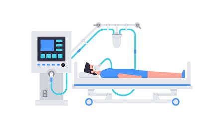 Man lying in hospital bed. A man is lying on a bed in a hospital room, connected to a Ventilator Medical Machine. Coronavirus COVID-19 virus. Flat Style