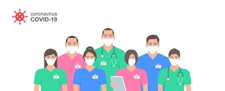 Ärzte in weißer medizinischer Gesichtsmaske. Stellen Sie Ärzte und Krankenschwester in Schutzmasken ein. Gesundheitsfürsorge und Sicherheit. Coronavirus COVID-19-Virus. Flacher Stil Vektorgrafik