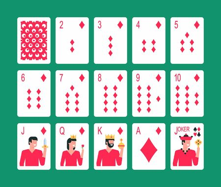 Playing cards Diamond suit, joker and back. Flat Style. isolated on green background