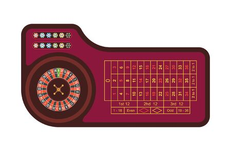 Casino roulette table. Red gambling roulette table with numbers. top view