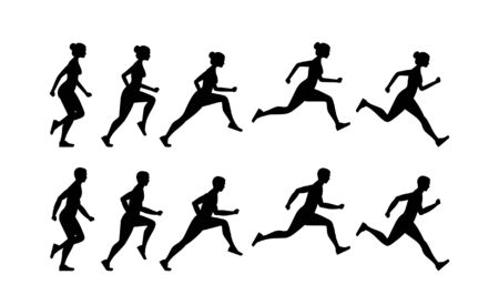 Woman and Man Run cycle animation sprite sheet. Flat Style. isolated on white background