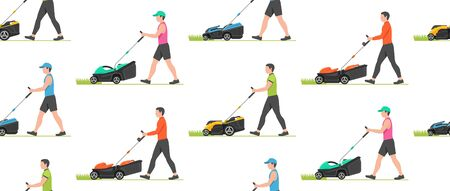 Seamless pattern with Man with lawnmower. flat style. isolated on white background