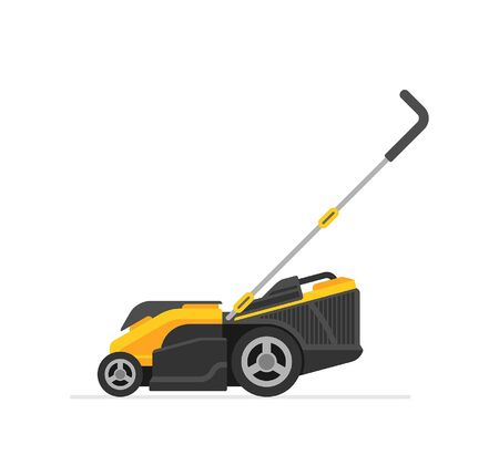 Yellow Lawn Mower. flat style. isolated on white background