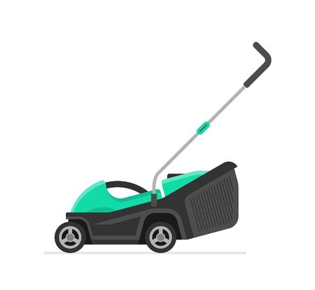 Green Lawn Mower. flat style. isolated on white background