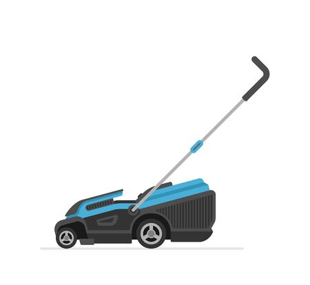 Blue Lawn Mower. flat style. isolated on white background