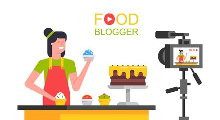 Women Food blogger working in the kitchen. Making a video. flat style. isolated on white background