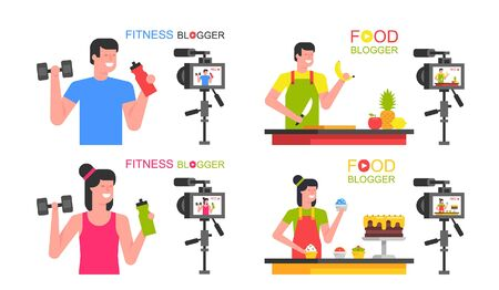 Set of bloggers Man and Woman. Food blogger, Athletic blogger. Making a video. flat style. isolated on white background